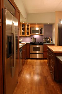 kitchen with wooden floor